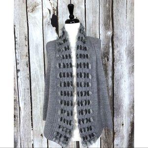 Chico's Julie Faux Fur Trimmer Gray Vest